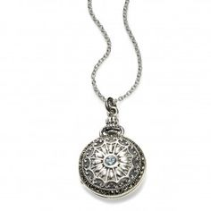 Vintage Style Locket with Blue Topaz Accent, Sterling Silver