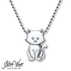 A protector of the supernatural in ancient lore, the cat is a guardian of secrets with its mysterious yet clever ways. If you fall head over heels, this sterling silver Kitten necklace by Alex Woo will always have you landing back on your feet! The charm sways from a 16-inch beaded chain that secures with a lobster clasp.