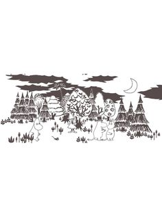 Moomin In the forest cotton fabric | Moomin Fabric | Shannon Furniture