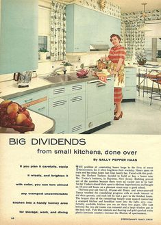 "Fabulous vintage kitchen featured in ""Big Dividends"", Oct. 1958 article from Everywoman's Family Circle -- I guess this used to be considered a ""small"" kitchen! Vintage Interiors, Vintage Home Decor, Vintage Kitchen, Retro Vintage, 1950s Kitchen, Retro Ads, 1950s Decor, Vintage Apron, Vintage Laundry"