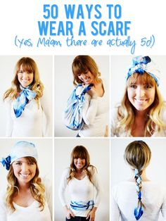 My Husband tells me I have a real scarf issue. He doesn't seem to understand my love! I really don't think 25 + scarves is a lot. That's a tame amount, right? 50 ways to wear a scarf Ways To Wear A Scarf, How To Wear Scarves, Diy Fashion, Fashion Beauty, Fashion Outfits, Fashion Tips, Scarf Styles, Dress Me Up, Fashion Forward