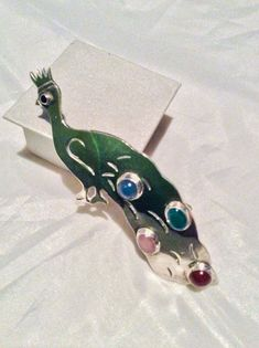 Mexican Peacock Brooch Chalcedony Jade Rose Quartz by OurBoudoir