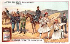 Liebig Tradecard – Greek Soldiers, 1910 – New Avsa Restaurant Greek Soldier, Army Soldier, Ephemeral Art, Greek History, Horse Print, Wwi, Armed Forces, Prints, Painting