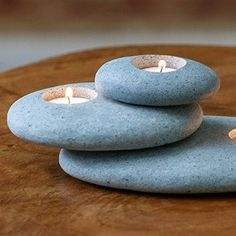 Unique Stone Candle Holder-Moss