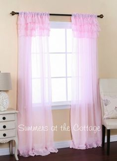 SHABBY ROMANTIC CHIC SHEER RUFFLES CURTAIN DRAPES - PINK OR WHITE