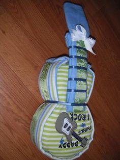 """Baby Boys """"Daddy Think I Rock"""" Diaper Guitar - Baby Shower Gift  by tiffanylynnwilliams for $37.00"""