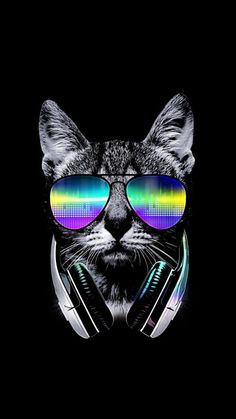 Music Lover Cat - Tshirt by leonstores Wallpaper Gatos, Cat Wallpaper, Mobile Wallpaper, Wallpaper Backgrounds, Iphone Wallpaper, Trippy Wallpaper, Gatos Cool, Dope Wallpapers, Kitten Meowing