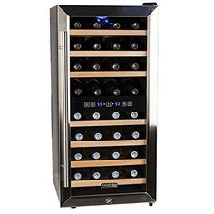 Koldfront 32 Bottle Free Standing Dual Zone Wine Cooler - Black and Stainless Steel