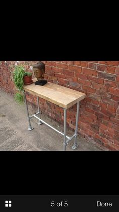 Scaffold board and pole, industrial style breakfast bar bench.