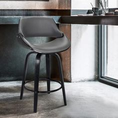 Armen Living Mona Grey Counter Upholstered Swivel Bar Stool at Lowe's. The Armen Living Mona contemporary swivel barstool features a characteristically modern straight leg design and stylish bucket seat for optimal comfort. Swivel Counter Stools, 24 Bar Stools, Bar Counter, Bar Chairs, Bar Stools For Kitchen, Kitchen Island, Dining Chair, Stool Height, Bar Furniture