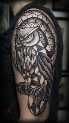 Tattoo i did today, Progress for a 3/4 full sleeve #dots #owl #geometry #blackwork #tattoo