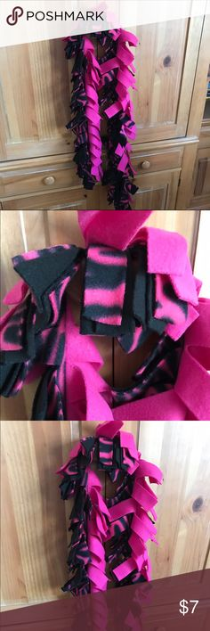 Fleece tie scarf pink black zebra design Jones New York Sport Black/white loose shirt Accessories Scarves & Wraps