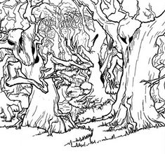 Haunted Forest Coloring Page : Coloring Sky Forest Coloring Pages, Tree Coloring Page, Quote Coloring Pages, Bear Coloring Pages, Coloring Pages For Kids, Coloring Books, Us Forest Service, Haunted Forest, Forest Pictures