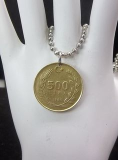 Coin Necklace Turkey 500 Lira Ball Chain by AutumnWindsJewelry, $12.00