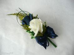 Wedding Buttonhole Grooms Ivory & Navy Blue Wedding Flowers