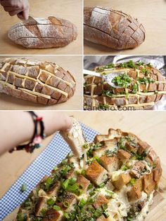stuffed bread deliciousness...I'm thinking of sundried tomatoes instead of green onions.