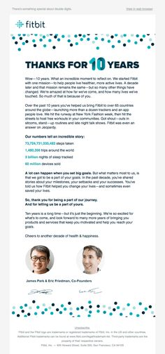Fitbit is A note from our founders - Really Good Emails Email Template Design, Email Newsletter Design, Email Templates, Email Design, Ux Design, Life Touch, Best Email, Web Browser