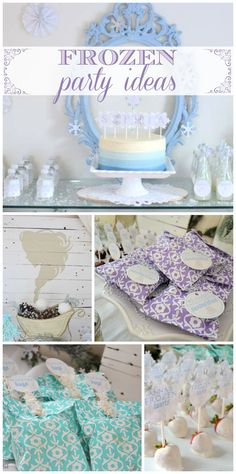 An elegant Frozen girl birthday party with white chocolate covered strawberries and a blue ombre cake! See more party planning ideas at CatchMyParty.com!