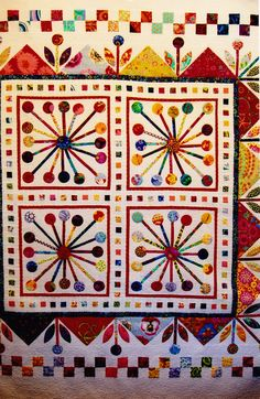Atomic Bloom - retro style pieced & applique quilt pattern - Flying Fish Kits. $21.50, via Etsy.