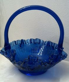 80s Fenton Colonial Blue Cabbage Roses Ruffled Crimped Brides Basket~RARE & MINT
