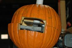 DIY Candy throwing pumpkin
