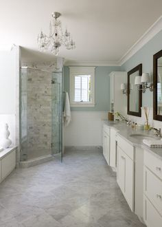 Palladian blue bathroom traditional with towel rack