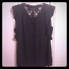 Black Lace and Slinky Blouse EUC. Never been worn by me, re-Poshing. Smoke free home. No Trades/PayPal. Price is firm. Maurices Tops Blouses