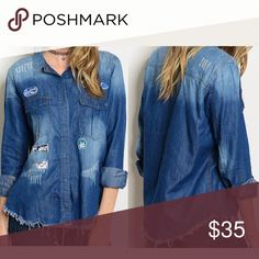 PREORDER Ombre distressed denim patch top! Wear as a cute jacket over a tank or as a denim top - distressed with patch detail raw edge design for a grunge aesthetic 100% cotton Tops