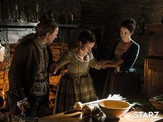 Still of Laura Donnelly, Steven Cree and Caitriona Balfe in Outlander (2014)