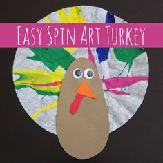 Toddler Approved!: Easy Spin Art Turkey Craft