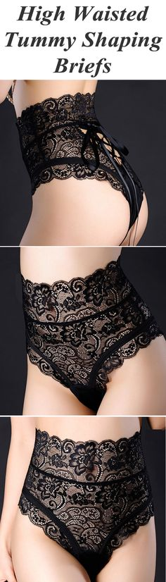 Lacing Adjustable High Waisted Tummy Shaping Briefs