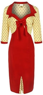 Cream and Red Pinup Pencil Dress