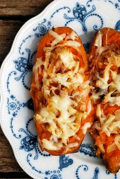 Twice Baked Sweet Potatoes with Caramelized Onions and Gruyere // The Live-In Kitchen. ☀CQ #glutenfree