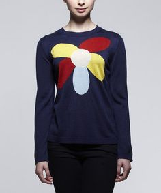 But the flower has to go lower. This Peacoat Navy & Red Flower Sweater is perfect! #zulilyfinds