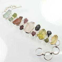Marvelous Bracelet Natural MULTI Gemstones 925 Sterling Silver ! Friendship Gift #SunriseJewellers #Chain