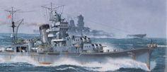 IJN light cruiser Yahagi with battleship Yamato in the background...(War Art)