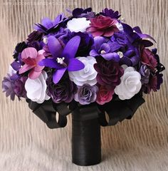 Purple White and Black Wood, Paper and Corn husk Flowers Bouquet ...