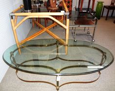 """1970's Brass and glass """"Hollywood Regency"""" cocktail table. $495"""