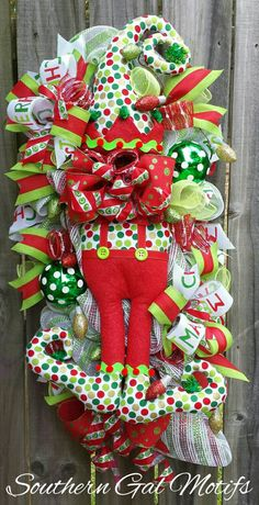 christmas elf swag christmas elf decor christmas elf wreath christmas wreathchristmas - Elf Christmas Decorations