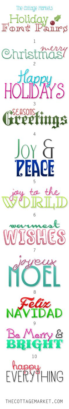 Free Fonts Holiday Pairs - The Cottage Market  ~~ {20 free fonts w/ easy download links}