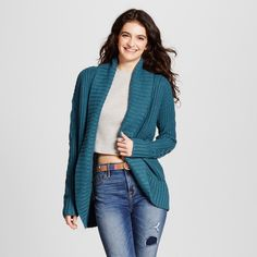 Women's Chunky Cocoon Cardigan - Mossimo Supply Co. Teal (Blue) Xxl