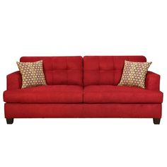 Add a pop of color in the office, living or sitting area with this red sofa! -- Contemporary sofa with blind-tufted cushions and exposed block legs. Made in the USA. Wood Sofa, Contemporary Sofa, Rose Cottage, Joss And Main, Home Furniture, Home Goods, Family Room, Cushions, Pillows