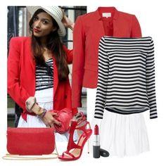 С чем носить красные босоножки: полосатая кофта, белая плиссированная юбка, красный пиджак