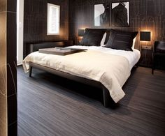 Marmoleum Striato Flooring in a bedroom | notablerugs.ca