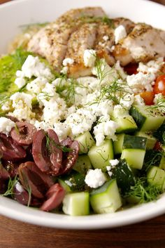 healthy food recipes chiken dinner cooking Get us to the Greek [bowl]! Healthy Snacks, Healthy Eating, Healthy Recipes, Avocado Recipes, Healthy Tuna Salad, Healthy Dinners, Clean Eating Recipes, Cooking Recipes, Greek Food Recipes