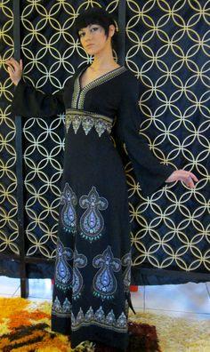 Vintage Alfred Shaheen Maxi Dress-Circa 1970s-Ethnic Print-Empire Waist