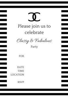 FREE Printable COCO Chanel Party Invitations
