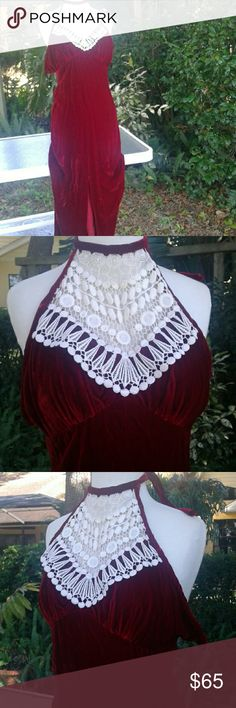 70s vintage velvet sexy halter dress extra small Scarlett O'Hara meets boho princess you will absolutely love this crimson red velvet very sexy bohemian Victorian lace applique halter dress in size extra small zippered back excellent condition for address this age bust is 32 please ask me any questions you will not find another dress like this one Vintage Dresses Maxi