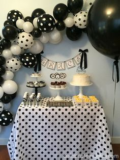 Simple Black And White Polka Dot 9th Birthday Party Balloons