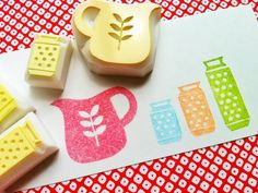 SALE - cooking hand carved rubber stamp - hand carved stamp  - water pitcher stamp - 3 canister stamps  - set of 4 - no2-  ready to ship. $9,80, via Etsy.